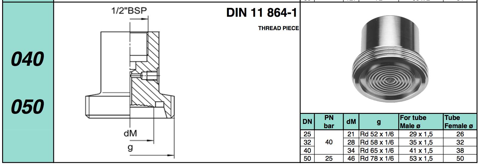 Chuẩn kết nối Diaphragm Seal dạng Thread Piece DIN 11 864-1