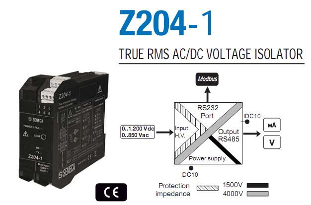 Chuyển đổi điện áp 850VAC, 1200VDC sang 4-20mA, 0-10V