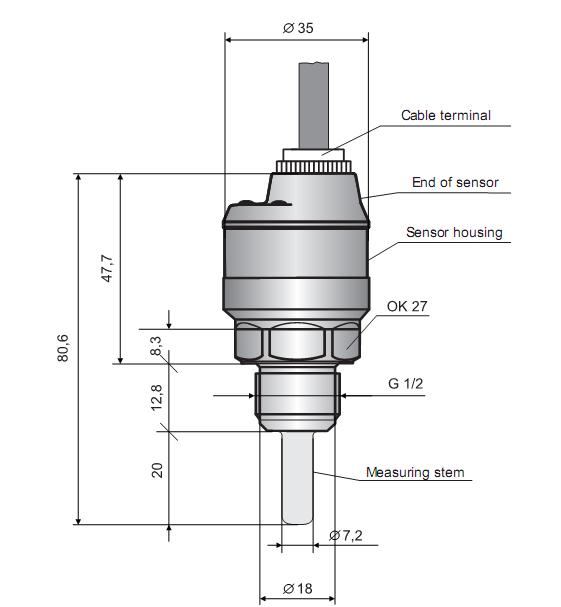 Cảm biến báo dòng chảy và nhiệt độ TFS-35