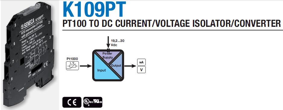 Chuyển đổi tín hiệu PT100 ra 4-20mA, 0-10v, K109PT