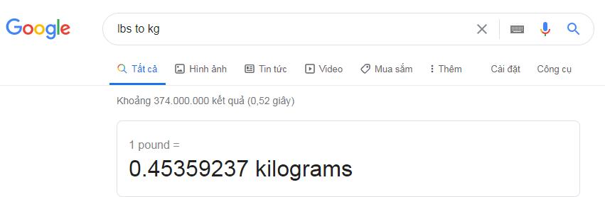 Đổi đơn vị Lbs sang kg