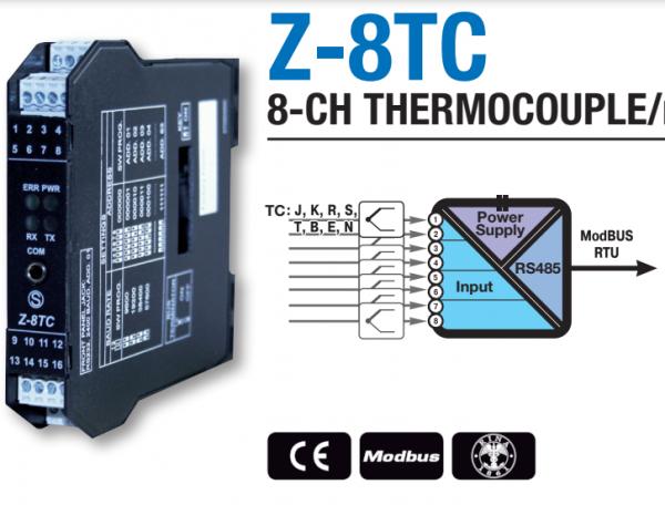 Chuyển đổi 8 kênh thermocouple sang Modbus RTU
